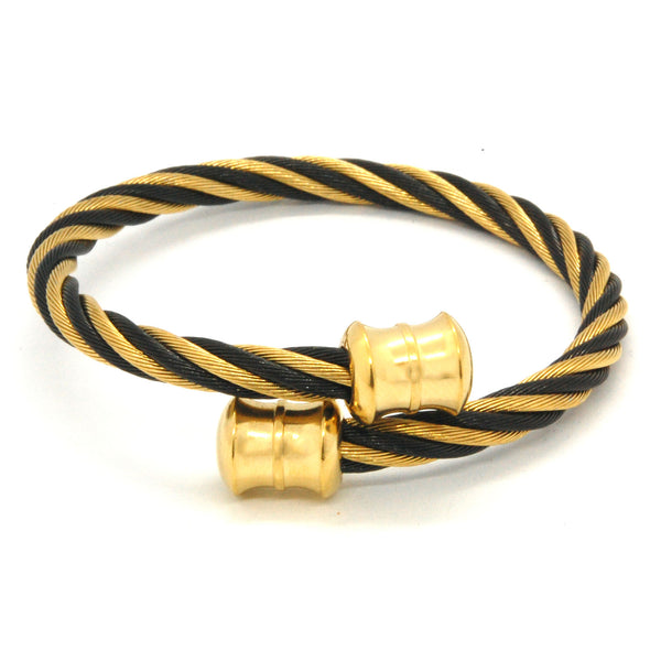 ESBG 6571: 2-Tone Twisted Charriol Bangle w/ Gold Plated DB Barrel Ends (Black,Yellow Gold)