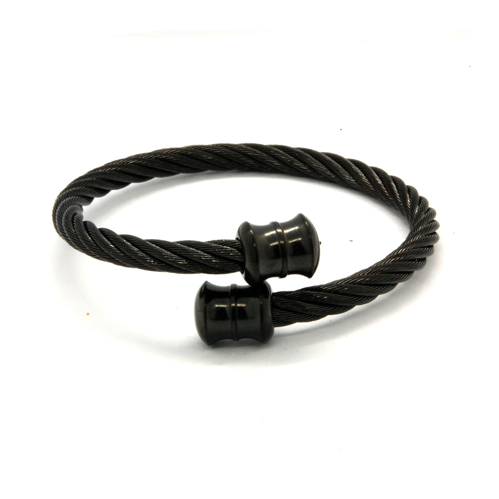 ESBG 6572: All Black Plated Twisted Charriol Bangle w/ Black DB Barrel Ends