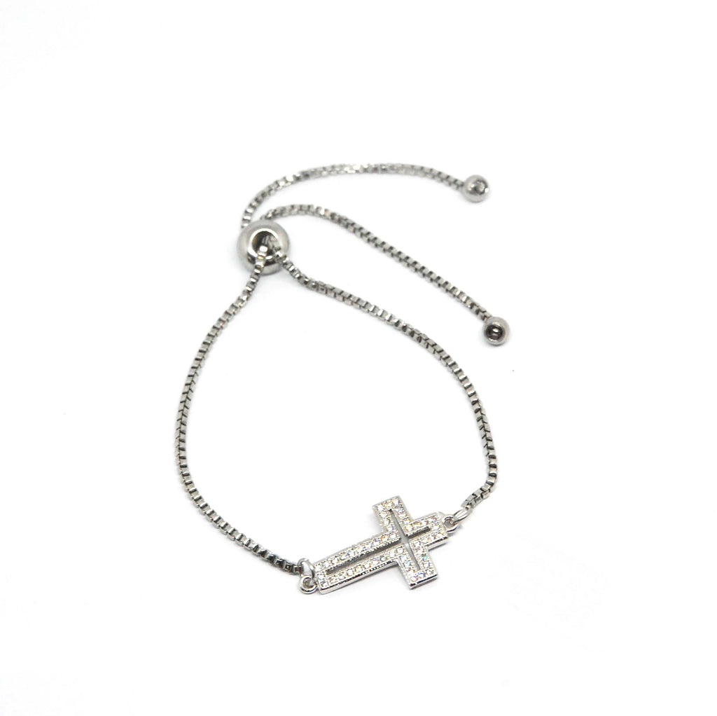 ESBL 6039: Cross Outline Cz Studded Adjustable Bracelet