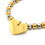 ESBL 6567: Stretchable Gold & L.Silver Bead Bracelet w/ Tiffany Gold-Plated Heart Charm
