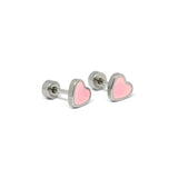 ESE 6773:  Playful Colored Heart Studs w/ Child Safe Chapita
