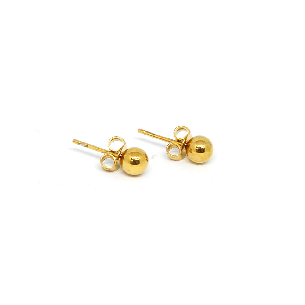 ESE 6803 : Sheryl 5mm Gold Plated Pearl Steel Earrings