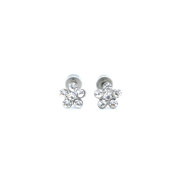 ESE 6558: Pair of 6-Cubic Zirconia Rositas Earrings w/ Child Safe Chapita