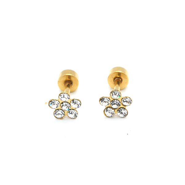 ESE 6559: Gold-Plated 6-Cubic Zirconia Rositas Earrings w/ Child Safe Chapita