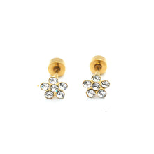 ESE 7043: Gold-Plated 6-Cubic Zirconia Rositas Earrings w/ Child Safe Chapita