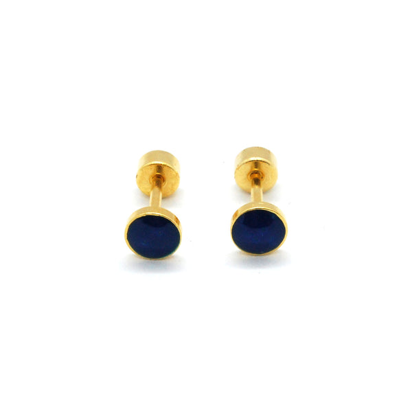 ESE 6560: Playful Gold Palted Colored Dot Studs w/ Child Safe Chapitas
