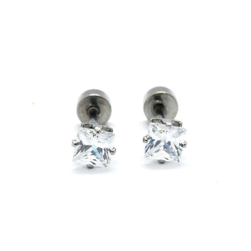 ESE 6561: Raquel 4mm Princess Cut Cubic zirconia w/ Child Safe Chapita