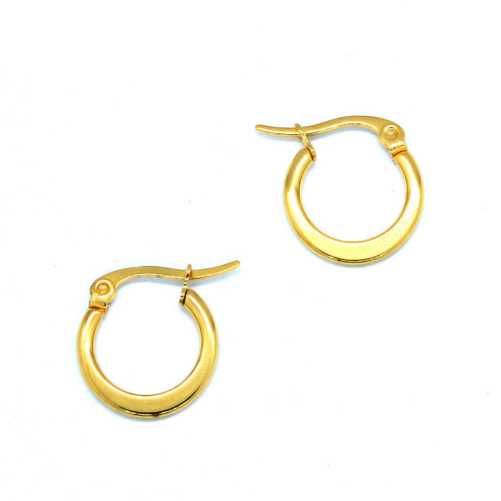 ESE 6562: 15mm Gold-Plated Flat Hoop Earrings