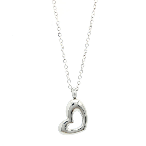 ESN 5604: Alicia Side Heart Outline Necklace w/ 18