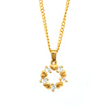 "ESN 6124: Gold-Plated Circle OF Hearts 5-Cubic zirconia Necklace (w/19"" PO Ch)"