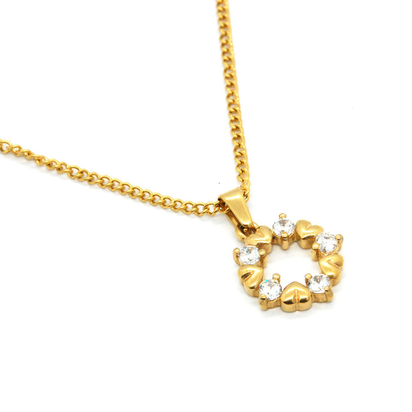 ESN 6124: Gold-Plated Circle OF Hearts 5-Cubic zirconia Necklace (w/19