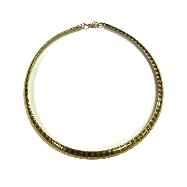 ESN 6595: Gold Plated 8mm Striped Omega Necklace