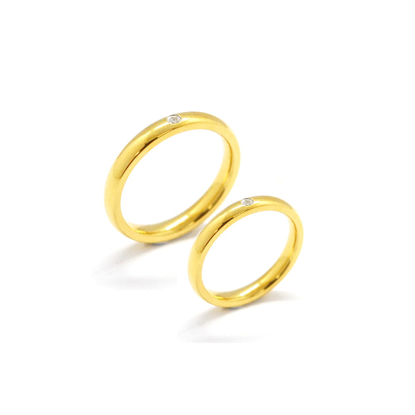 ESR 6637: Evan Gold Plated 3mm Ultra Thin Glossy Ring w/ 1 Cz
