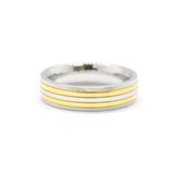 ESR 6486: Giselle Glossy Comfort Fit 4-Lined Alternating 2-Tone Ring