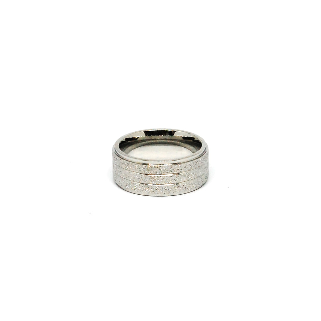 ESR 6795: Jennifer Stainless Steel 3-Lined 8mm Sandblasted Band