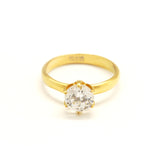 ESR 6557: Layla 1-Carat 6-Prong Solitaire Ring w/ Gold-Plated Band