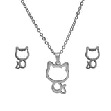 SET 4957: Kitty Cat Necklace & Earrings Set