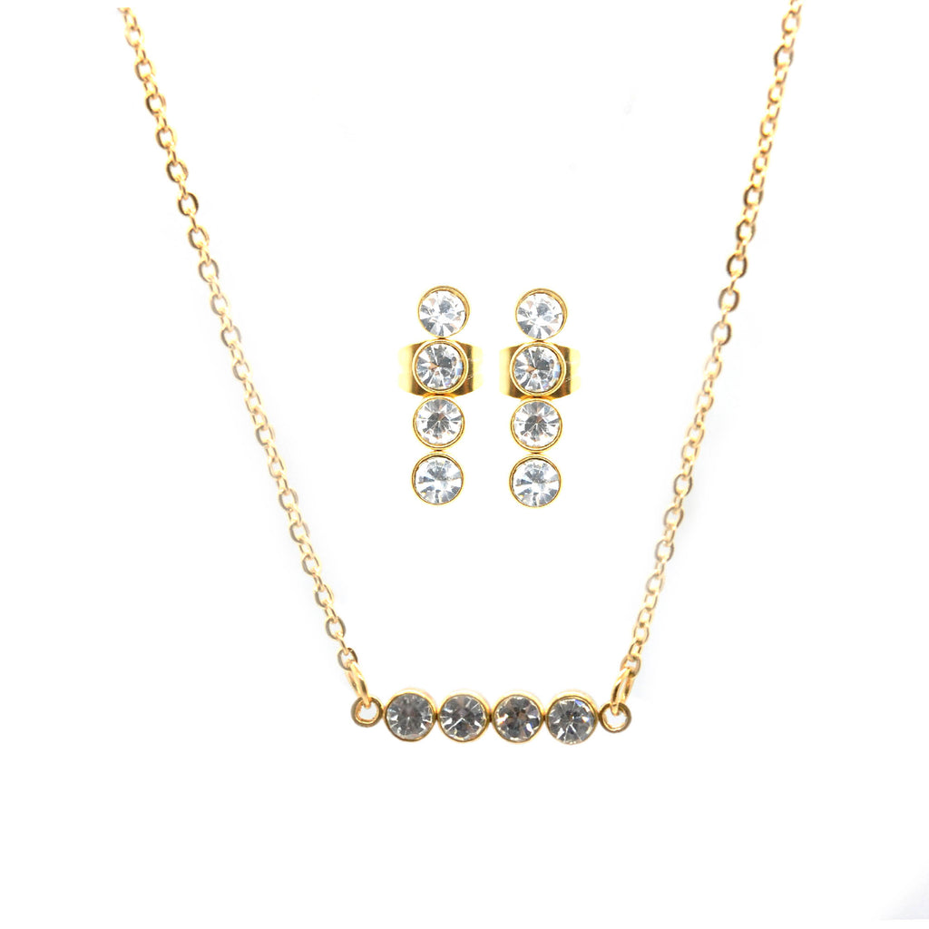 SET 6166: Gold Plated 4-Cz Dangling Earrings & Necklace Set