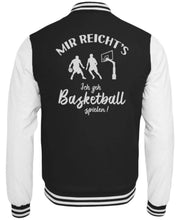 Laden Sie das Bild in den Galerie-Viewer, CollegejackeB Jet Black-White / XS Basketballer: Ich geh Basketball spielen!  - College Sweatjacke (4362250584116)