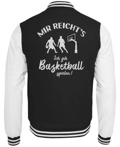 CollegejackeB Jet Black-White / XS Basketballer: Ich geh Basketball spielen!  - College Sweatjacke (4362250584116)