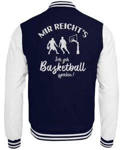CollegejackeB Oxford Navy-White / XS Basketballer: Ich geh Basketball spielen!  - College Sweatjacke (4362250584116)