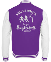 Laden Sie das Bild in den Galerie-Viewer, CollegejackeB Purple-White / XS Basketballer: Ich geh Basketball spielen!  - College Sweatjacke (4362250584116)