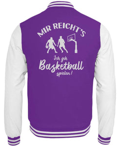 CollegejackeB Purple-White / XS Basketballer: Ich geh Basketball spielen!  - College Sweatjacke (4362250584116)