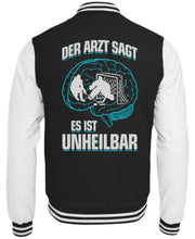 Laden Sie das Bild in den Galerie-Viewer, CollegejackeB Jet Black-White / XS Eishockey: ...es ist unheilbar  - College Sweatjacke (4330463494196)