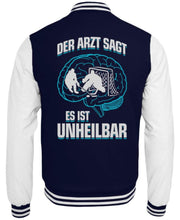 Laden Sie das Bild in den Galerie-Viewer, CollegejackeB Oxford Navy-White / XS Eishockey: ...es ist unheilbar  - College Sweatjacke (4330463494196)