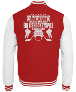 CollegejackeB Fire Red-White / XS Eishockey: Nett, bis wir Eishockey schauen  - College Sweatjacke (4378893025332)