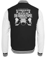 Laden Sie das Bild in den Galerie-Viewer, CollegejackeB Jet Black-White / XS Eishockey: Nett, bis wir Eishockey schauen  - College Sweatjacke (4378893025332)