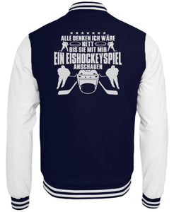 CollegejackeB Oxford Navy-White / XS Eishockey: Nett, bis wir Eishockey schauen  - College Sweatjacke (4378893025332)