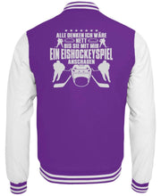 Laden Sie das Bild in den Galerie-Viewer, CollegejackeB Purple-White / XS Eishockey: Nett, bis wir Eishockey schauen  - College Sweatjacke (4378893025332)