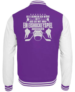 CollegejackeB Purple-White / XS Eishockey: Nett, bis wir Eishockey schauen  - College Sweatjacke (4378893025332)