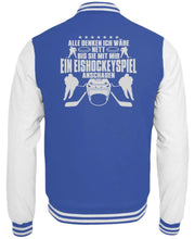 Laden Sie das Bild in den Galerie-Viewer, CollegejackeB Royal Blue-White / XS Eishockey: Nett, bis wir Eishockey schauen  - College Sweatjacke (4378893025332)