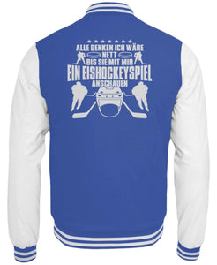 CollegejackeB Royal Blue-White / XS Eishockey: Nett, bis wir Eishockey schauen  - College Sweatjacke (4378893025332)