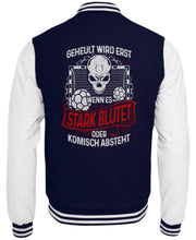 Laden Sie das Bild in den Galerie-Viewer, CollegejackeB Oxford Navy-White / XS Handball: Handballer heulen nicht  - College Sweatjacke (4337386487860)