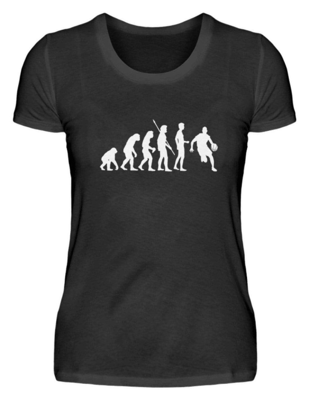 Damen Basic T-Shirt Black / S Basketballer: Evolution Basketballspieler  - Damenshirt (4362254385204)