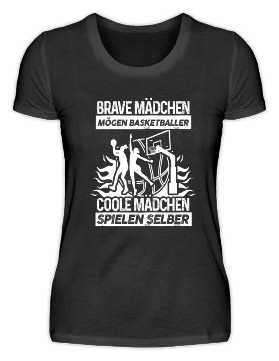 Damen Basic T-Shirt Black / S Basketballerin: Coole Mädchen spielen Basketball  - Damenshirt (4362266476596)
