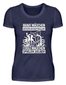 Damen Basic T-Shirt Navy / S Basketballerin: Coole Mädchen spielen Basketball  - Damenshirt (4362266476596)
