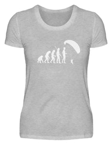 Damen Basic T-Shirt Heather Grey / S Gleitschirmfliegen: Evolution Gleitschirmflieger  - Damenshirt