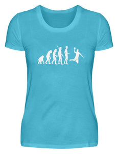 Damen Basic T-Shirt Caribbean Blue / S Handball: Evolution Handballspieler  - Damenshirt (4337388060724)