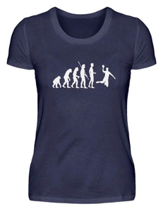 Damen Basic T-Shirt Navy / S Handball: Evolution Handballspieler  - Damenshirt (4337388060724)