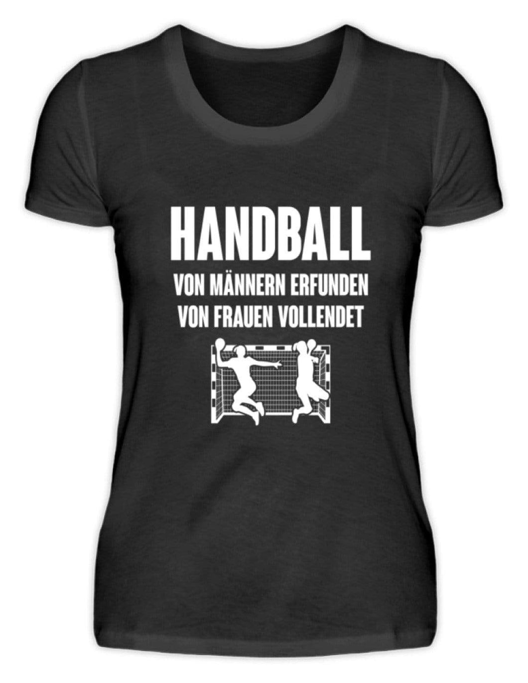 Damen Basic T-Shirt Black / S Handball: Von Frauen vollendet  - Damenshirt (4337390518324)