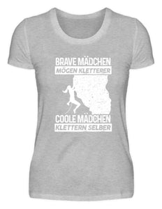 Damen Basic T-Shirt Heather Grey / S Klettern: Coole Mädchen klettern  - Damenshirt