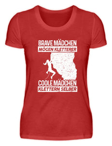 Damen Basic T-Shirt Red / S Klettern: Coole Mädchen klettern  - Damenshirt