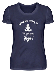 Damen Basic T-Shirt Navy / S Meditation: Ich geh zum Yoga!  - Damenshirt