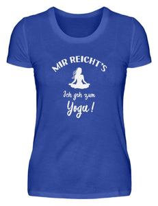 Damen Basic T-Shirt Neon Blue / S Meditation: Ich geh zum Yoga!  - Damenshirt