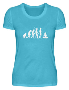 Damen Basic T-Shirt Caribbean Blue / S Yoga: Evolution Yogi  - Damenshirt
