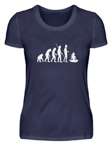 Damen Basic T-Shirt Navy / S Yoga: Evolution Yogi  - Damenshirt